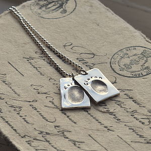 Personalised Fingerprint Silver Dog Tags - necklaces