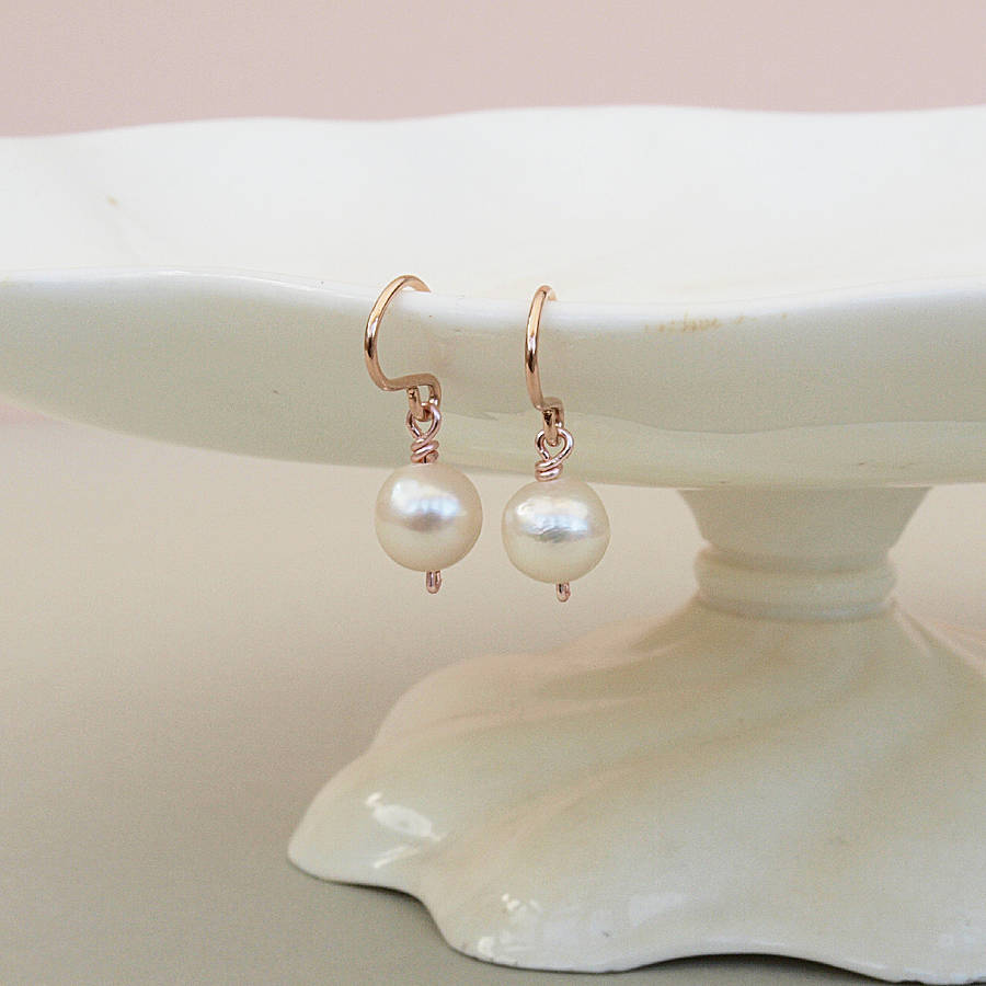 simple pearl drop earrings rose gold by jewellery made by ...