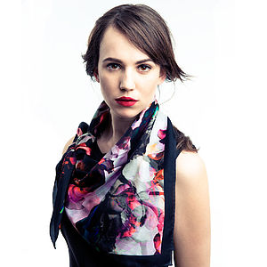 Midnight Rose Classic Silk Habotai Scarf - hats, scarves & gloves