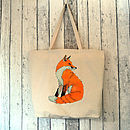 Fox Illustration Large Canvas Tote Bag