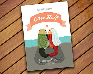 Personalised Otter Wedding Invitation - wedding stationery
