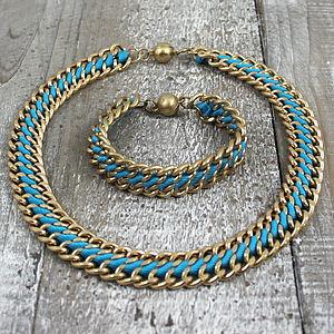 Kiva Necklace And Bracelet Set Blue Or Orange - jewellery sets