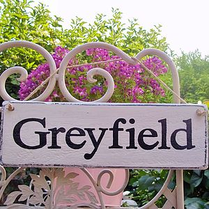 House Sign Personalised Rural Style - garden