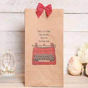 Personalised Typewriter Gift Bag - gift bags & boxes