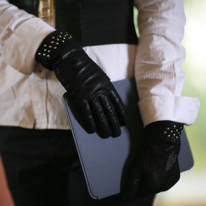 Nico. Women's Black Sparkle Leather Gloves