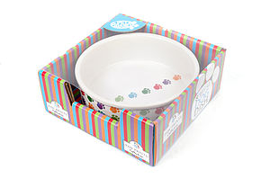 Paw Print Ceramic Dog Bowl - food, feeding & treats