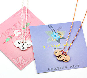Disc Initial Triple Letter Necklace - gifts for her