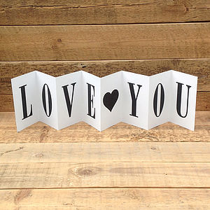 Think I Love You Concertina Card - valentine's cards