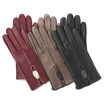 Poppy. Women's Zip Back Lined Leather Gloves