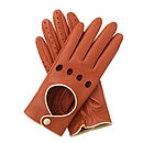 Jules Women's Contrast Leather Driving Glove - Mandarin