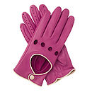 Jules Women's Contrast Leather Driving Glove - Pink