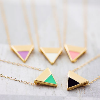 Enamel Triangle Necklace