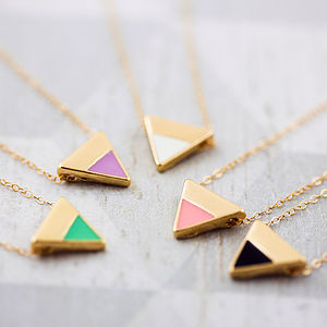 Enamel Triangle Necklace - delicate jewellery