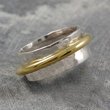 Sterling Silver And Gold Rotating Ring