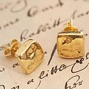 Gold Organic Square Stud Earrings