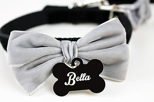 Personalised Velvet Bow Dog Collar