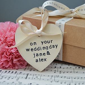 Personalised Wooden Heart Gift Tag - wedding favours