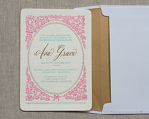 Gold Letterpress Birth Announcement