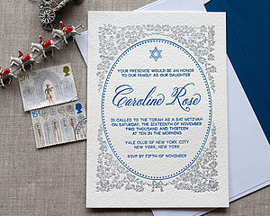 Letterpress Bat Mitzvah Invitation - new baby & christening cards