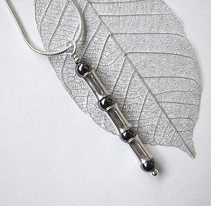 Hematite Silver Bamboo Pendant - children's accessories