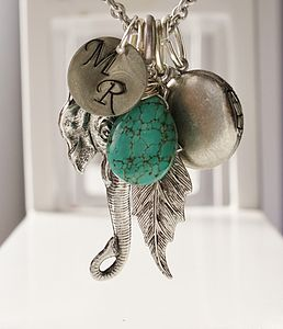 Elephant Charm Necklace with Gemstone - women's jewellery