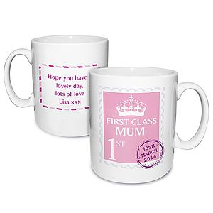 'First Class' Pink Personalised Mug