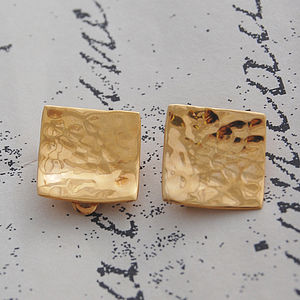 Gold Wavy Square Textured Clip On Earrings - earrings