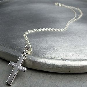 Personalised Solid Silver Cross Necklace - necklaces & pendants