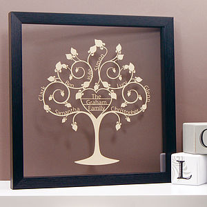 Personalised Family Heart Tree Papercut - mixed media & collage