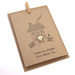 New Home 'Home Is Where The Heart Is' Button Box Card - cards sent direct