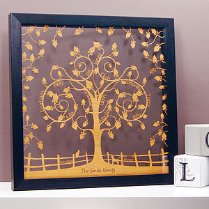 Personalised Floral Family Tree Papercut - prints & art