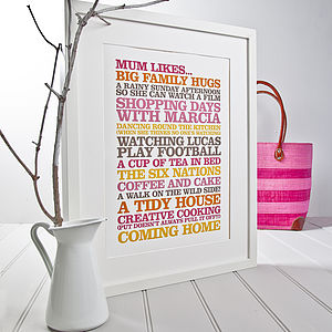 Personalised 'Likes' Poster Print - gifts for her
