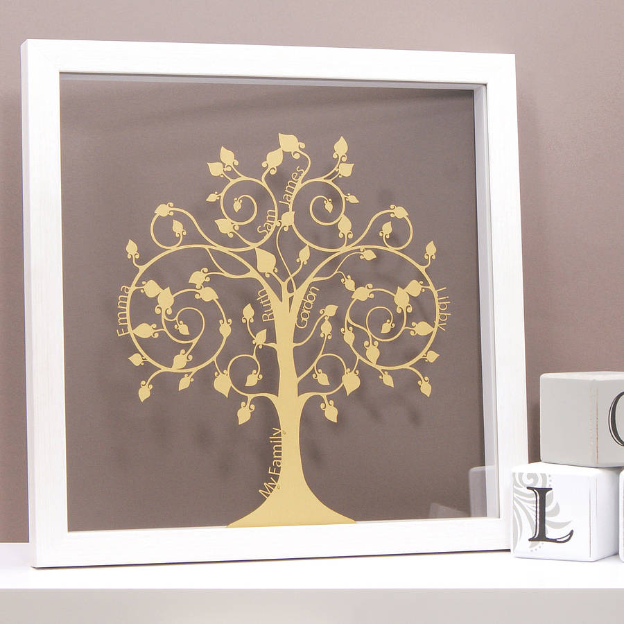 Personalised papercut family tree wall art