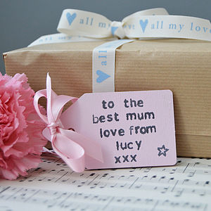 Personalised Wooden Gift Tag - ribbon & wrap