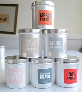 Message Scented Candle - table decorations
