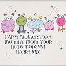 Personalised Little Monster Mother's Day Card