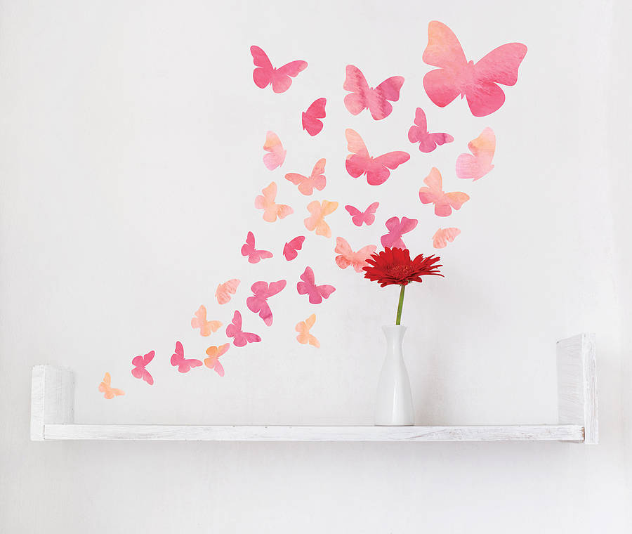 Watercolour butterfly wall stickers by parkins interiors for Butterfly wall mural
