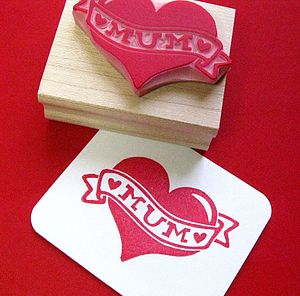 Tattoo 'Mum' Heart Hand Carved Rubber Stamp