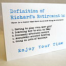 Personalised Definition Of Retirement Card