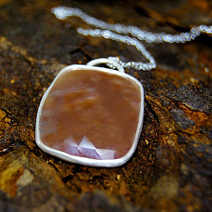 Amber Chestnut Sapphire Silver Necklace - necklaces & pendants
