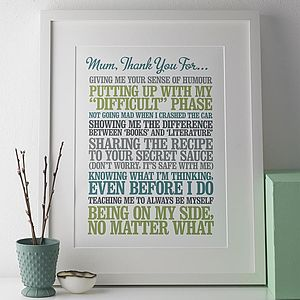 Personalised Thank You Print - personalised gifts for mothers