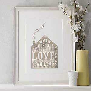 Personalised Home Gift Print - family & home
