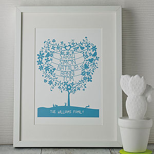 Personalised Mothers Day Tree Papercut Print - prints & art