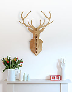 Wooden Deer Head Wall Trophy - nature & landscape