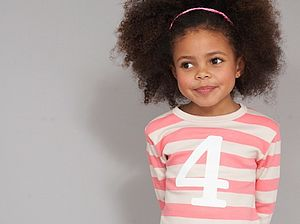 Age/ Number Kids T Shirt Posy Pink & Sand - gifts: under £25
