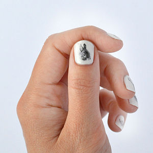 Bunny Nail Transfers - easter clothing & fancy dress