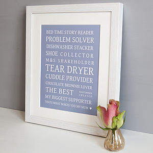 Personalised 'That's What Makes A Mum' Print
