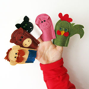 Handmade Felt Farmer And Farm Animal Finger Puppets - pretend play & dressing up