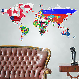 Flags Of The World Map Wall Sticker - wall stickers