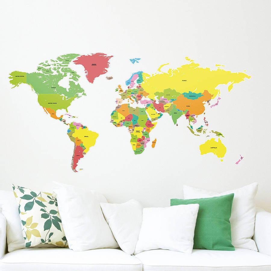 World map sticker for wall india - Countries Of The World Map Wall Sticker